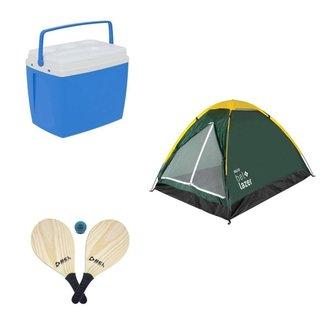 Kit Camping Praia Caixa Térmica 34L + Barraca +Frescobol Bel