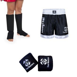 Kit Caneleira + Atadura Bandagem Elástica + Short Muay Thai Cetim