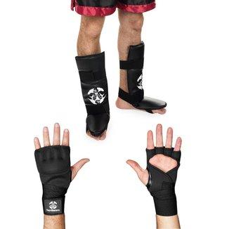 Kit Caneleira c/ Pé + Luva Bandagem rápida MMA Boxe Muay Thai