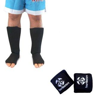 Kit Caneleira Elastano + Bandagem 2,5m Elastica MMA Muay Thai Boxe