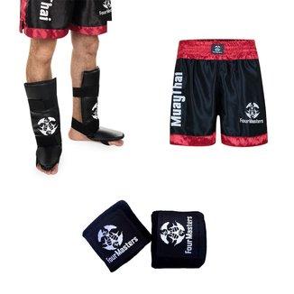 Kit Caneleira MMA Boxe + Bandagem Elástica Atadura + Short Muay Thai Cetim