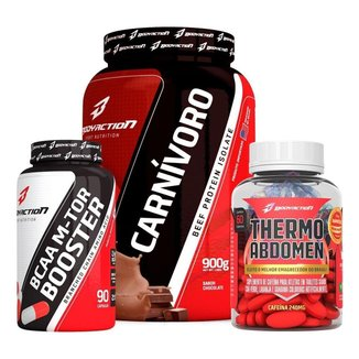Kit Carnívoro Isolate Beef Protein 900g + Bcaa + Thermo Abdomen Body Action