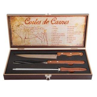 Kit Churrasco Fixxar Chef BBQ com 4 peças Linha Premium com Estojo em Madeira