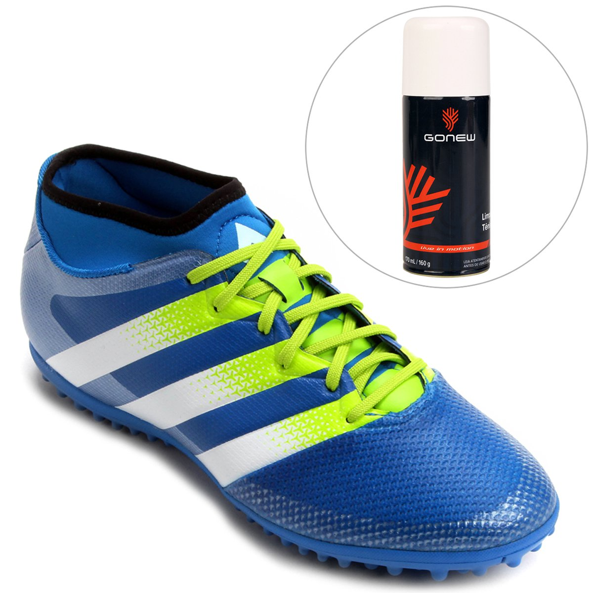 201dc6d0ea Kit Chuteira Adidas Ace 16.3 Primemesh TF Society + Limpa Tênis - Gonew -  Compre Agora