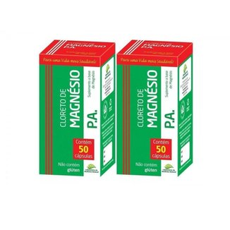 Kit Cloreto de Magnésio PA 500mg Medinal 50Caps - 2 Unidades