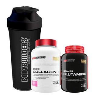 Kit - Colágeno BIO COLLAGEN II 200g + POWER Glutamina 100g + Creatina 100g - Bodybuilders
