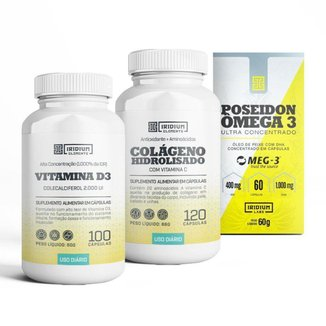 Kit Colágeno c/ Vit C + Poseidon Ômega 3 + Vitamina D