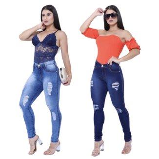 kit Com 02 Calças jeans Feminina Skynni Cós Alto