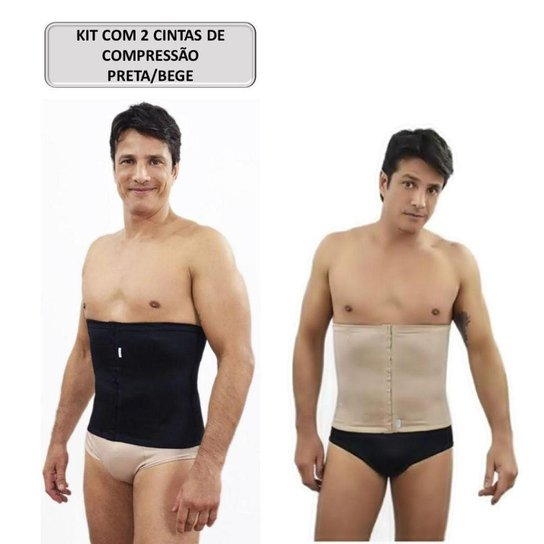 Kit com 2 Cintas Abdominal Masculina Lombar Bege e Preta - Preto+Bege