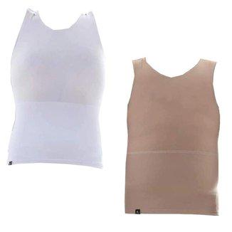 Kit com 2 Cintas Modeladoras Masculinas Bodyshaper Corretor Postural - Bege+Branco - GG - Homem