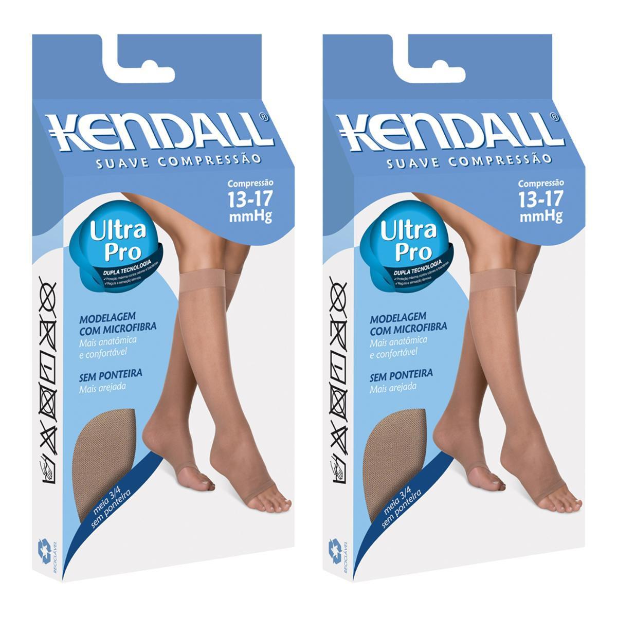 5ce5506ff Kit Com 2 Meia 3 4 Kendall Suave Compressão Sem Ponteira - Marrom e Branco  - Compre Agora