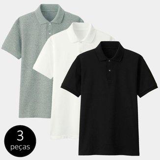 Kit com 3 Camisas Polo Part.B Regular Piquet Colors Masculina