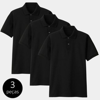 Kit com 3 Camisas Polo Part.B Regular Piquet Masculina
