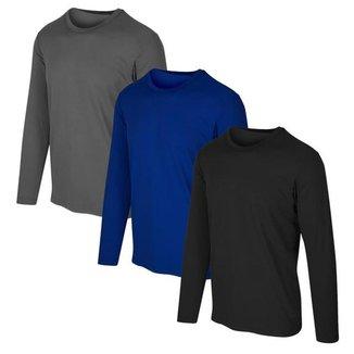 Kit com 3 Camisetas Proteção Solar UV +50 Masculina Slim Fitness - Vermelho Escuro+Azul  EGG - Homem