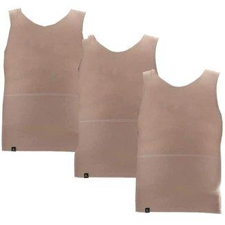 Kit com 3 Cintas Modeladoras Masculinas Bodyshaper Corretor Postural - Bege+Off White - EGG - Homem