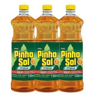 Kit com 3 Desinfetante Pinho Sol Original 1L Cada