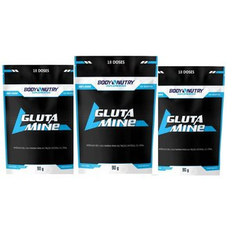 Kit com 3 L-Glutamine Refil 90g Body Nutry