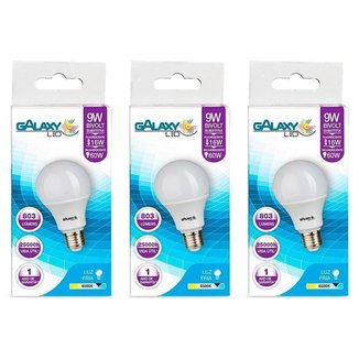 Kit com 3 Lâmpadas LED Galaxy Bulbo 9W 6500K E-27 Bivolt Bulbo A60