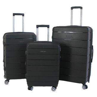 Kit com 3 Malas G, M, P Pacific USA California Polipropileno Ziper Antifurto, Cadeado TSA e Rodas Du