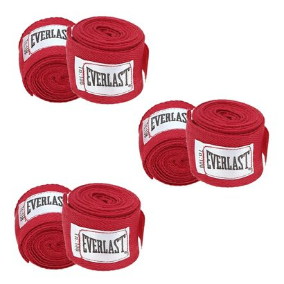 Kit Com 3 Pares Bandagem Everlast 2,74 Mt - Vermelho - Unissex