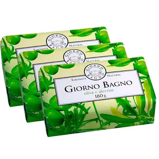 Kit com 3 Sabonetes Oliva Alecrim Giorno Bagno 180g - Verde Claro+Verde