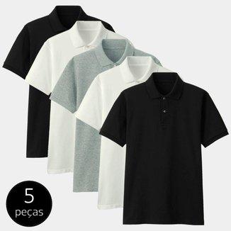 Kit com 5 Camisas Polo Part.B Regular Piquet Colors Masculino