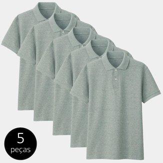 Kit com 5 Camisas Polo Part.B Regular Piquet Masculina