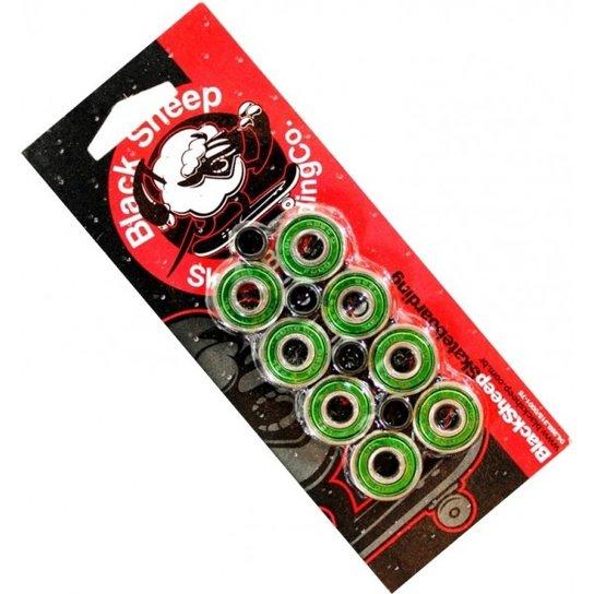 Kit com 8 rolamentos de skate e 4 espaçadores Black sheep Abec 9 - Verde