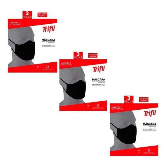 Kit Com 9 Máscaras Trifil Original Lavável Confortável - Preto