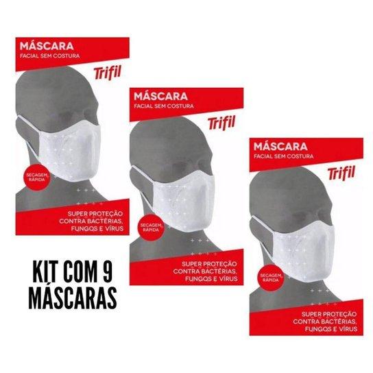 Kit Com 9 Máscaras Trifil Original Lavável Confortável - Branco