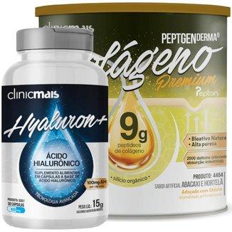 Kit com Colágeno Hidrolisado 9g Silício Orgânico Abacaxi e Hortelã 300g + Ácido Hialurônico 30