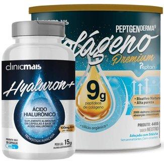 Kit com Colágeno Hidrolisado 9g Silício Orgânico Neutro 300g + Ácido Hialurônico 30 Caps 400 mg