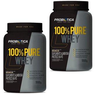 Kit / Combo 2x Puro Whey Protein 100% Pote 900g Probiotica Vários Sabores
