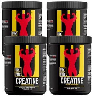 Kit Combo 4x Creatina - 200g - Sem Sabor - Universal Nutrition
