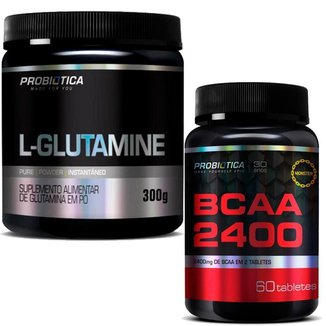 Kit Combo Glutamina 300g + BCAA 2400 60 Tabletes Probiótica