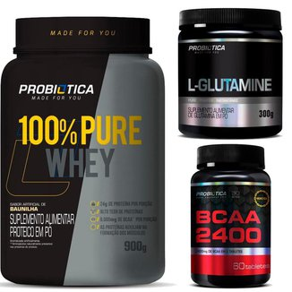 Kit / Combo Whey Protein 100% 900g + BCAA 2400 60 Tabletes + Glutamina 300g Probiotica