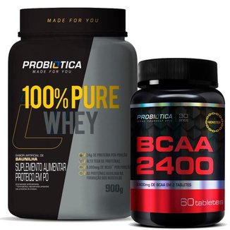 Kit / Combo Whey Protein 100% Pote 900g + BCAA 2400mg 60 Tabletes Probiotica