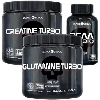 Kit Completo Creatina Turbo (150g) + Glutamina Turbo (150g)  + Bcaa 2400 (100tbs) - Black Skull