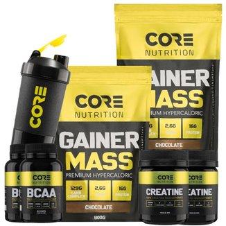 Kit Core Nutrition 2x Gainer Mass + 2x BCAA + 2x Creatina + Shaker