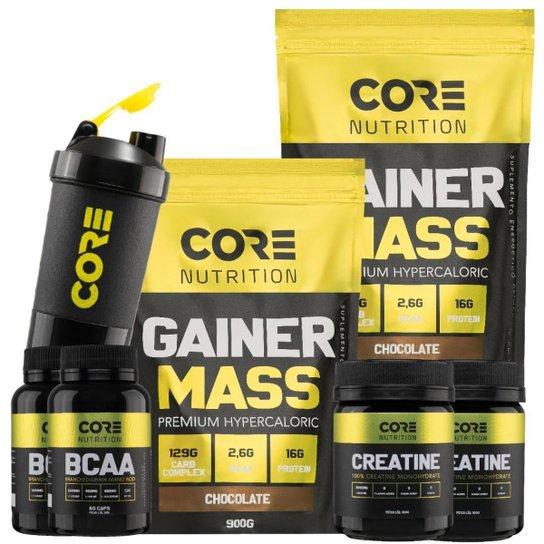 Kit Core Nutrition 2x Gainer Mass + 2x BCAA + 2x Creatina + Shaker -