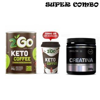 Kit Creatina Em Pó 300g Probiotica + Keto Coffee 2GO + Copo