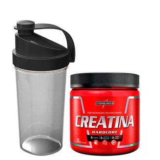 Kit Creatina Hardcore Reload 300 g + Coqueteleira Sortida 600ml
