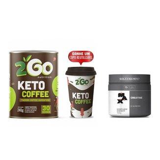 Kit Creatina Max Titanium 100g + Keto Coffee 240g 2GO + Copo