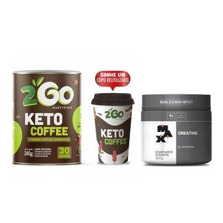 Kit Creatina Max Titanium 300g + Keto Coffee 240g 2GO + Copo