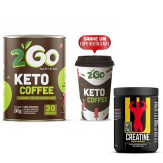 Kit Creatine Universal 200g + Keto Coffee 240g 2GO + Copo