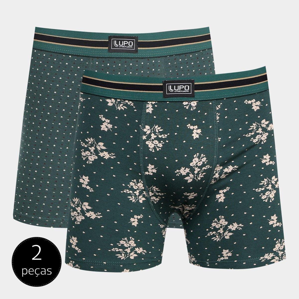 07652811239dc8 Kit Cueca Boxer Lupo Algodão Elastano 2 Peças - Verde e Cinza | Netshoes