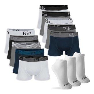 Kit Cuecas Boxer de Cotton 10 un. e Pares de Meia Cano Curto 3 pare Polo Match Masculino