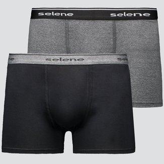 Kit de 2 Cuecas Boxer Selene Cotton Preta e Cinza Mescla