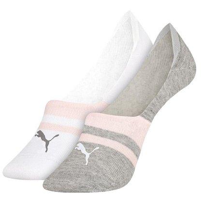 Kit de 2 pares de meias invisível feminina Puma