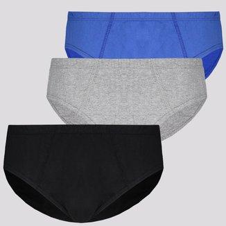 Kit de 3 Cuecas Slip Selene Cotton Infantil Preta Cinza e Azul